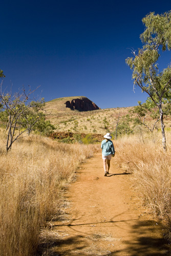 Lisa hiking to Lennard River Gorge