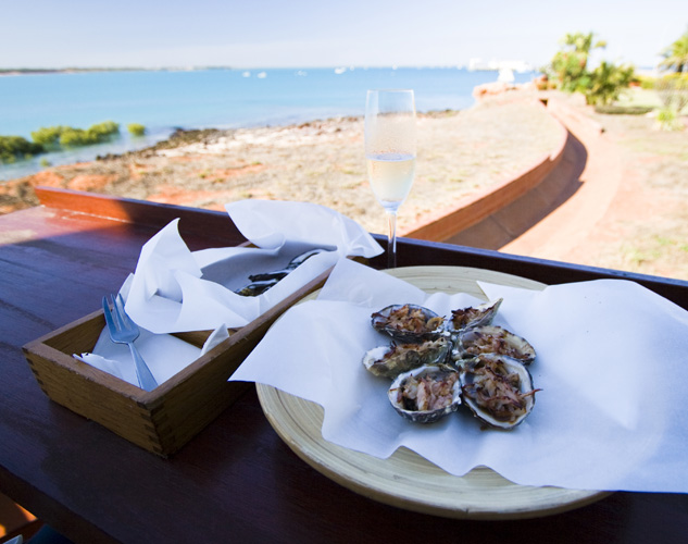 Oysters at the Wharf restaurant by the Port of Broome