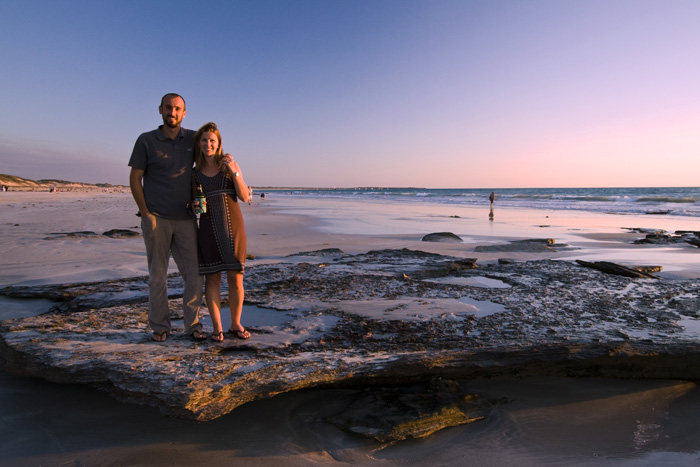 Sam and Lisa on Cable Beach at sunset