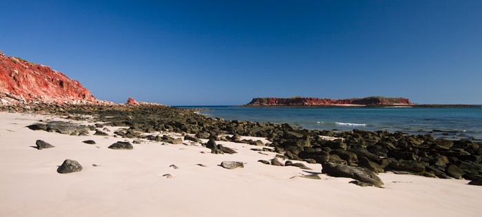 The white sandy beach at Cape Leveque with Leveque Island on the right