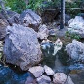Sam and Lisa taking a morning dip in Zebedee Springs