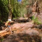 Lisa hiking in El Questro Gorge