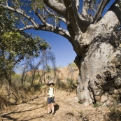 Lisa and a 1000 year old Boab tree hiking to Champagne Springs