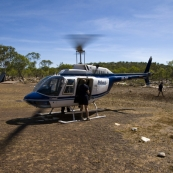 Disembarking the helicopter at the Mitchell Falls base