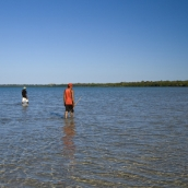 Two of the Aboriginals from Gambanan hunting for crabs