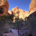 Lisa hiking in to Mini Palms Gorge