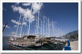 The harbor and Turkish yachts in Fethiye