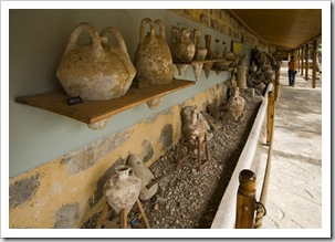 An array of amphoras at the Bodrum underwater archaeological museum