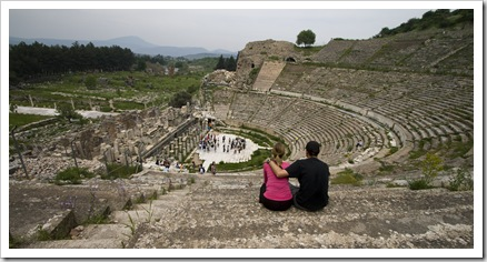Sam and Lisa in Ephesus' main theatre