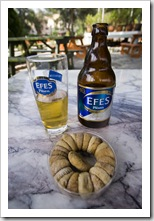 An afternoon beer with some dried figs in the Selcuk museum park