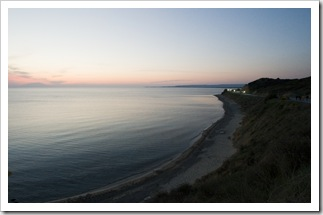 Anzac Cove in the setting sun