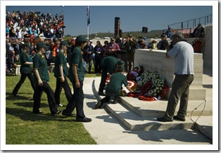 Laying wreaths at the Australian service at Lone Pine