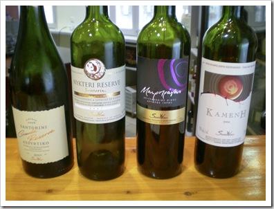 Santo Wines in tasting order