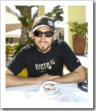 Sam and a morning Greek coffee in Pelekas