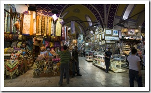 Fabric and shawls in the Grand Bazaar
