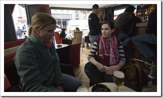 Sally and Lisa having a few beers off of Istiklal Caddesi