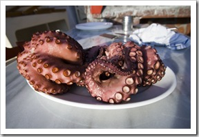ET's serve of octopus at dinner