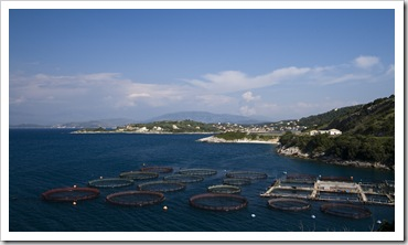 Aquaculture and Kassiopi in the distance