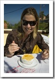 Lisa enjoying yoghurt and honey for breakfast in Pelekas