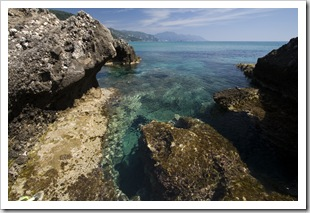 Tide pools at the northern end of Glyfada Beach