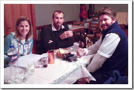 Lisa, Sam and ET enjoying pre-dinner drinks at Koka Roka Taverna