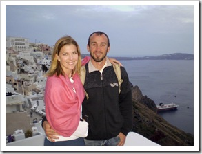 Sam and Lisa at dinner in Fira