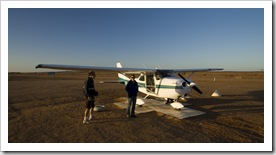 Lisa hopping on our Cessna for the scenic flight over Lake Eyre