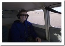 Lisa in the back for the flight over Lake Eyre