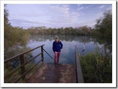 Lisa about to take a morning dip at Dalhousie Springs