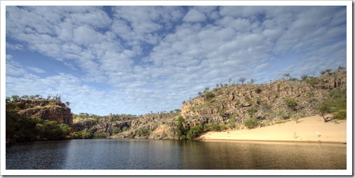 Katherine Gorge's first gorge and a crocodile nesting area in the sand