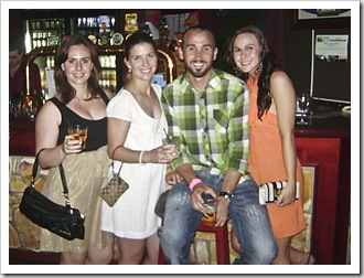Margot, Lisa, Sam and Sophie out for Richie's 30th birthday
