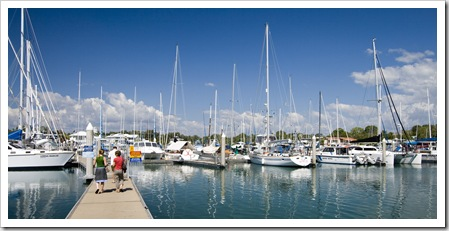 Bob, Lisa and Cathy walking around Cullen Bay harbor