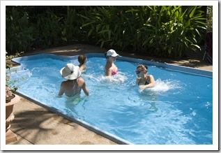 Lisa teaching an water aerobics class in the Hudson's pool