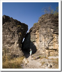 Lisa walking through one of the sandstone crevices along the Bardedjilidji Walk
