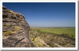 The edge of the sandstone escarpment and wetlands below at the Ubirr Aboriginal art site