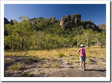 Lisa in front of the Arnhem Land escarpment at Burrunggui