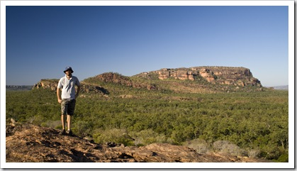Sam in front of the Arnhem Land escarpment at Burrunggui