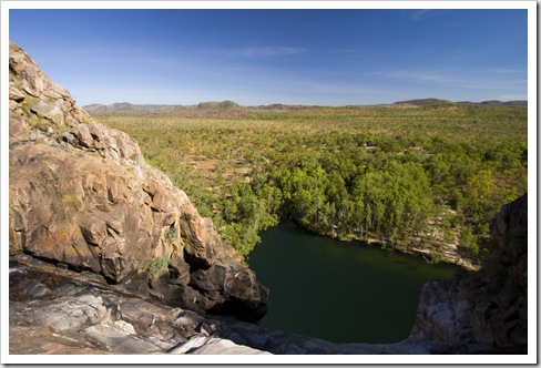 The Gunlom plunge pool from the top of the waterfall