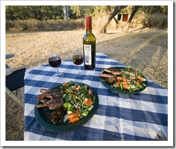 Lamb chops and salad for dinner at Victora River in Gregory National Park (for Tom Brown)