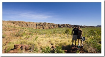 Sam and Lisa on the Jarnem loop walk in Keep River National Park