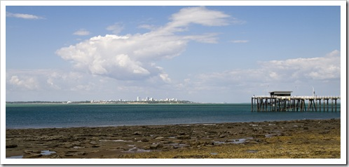 The jetty at Mandorah with a view of Darwin across the water