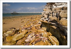 Colorful rocks along the beach at Mandorah