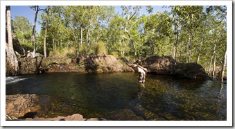 Sam about to dive into one of the pools at Buley Rockhole