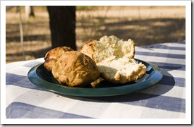 Damper scones at our campsite on Drysdale Station