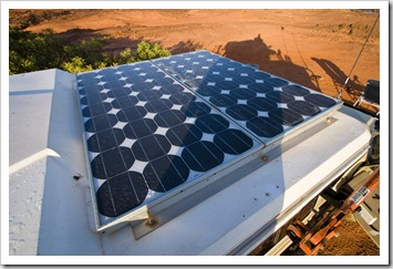 180W of solar panels make us pretty much self sufficient, they can run the fridge as well as charging our three batteries during the day