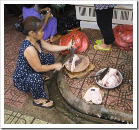 Fresh pig feet in Ben Tanh Market