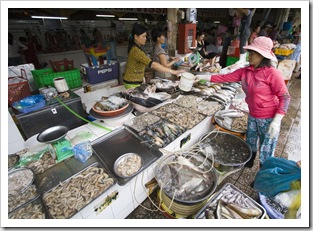 One of the shrimp stalls in Ben Tanh Market