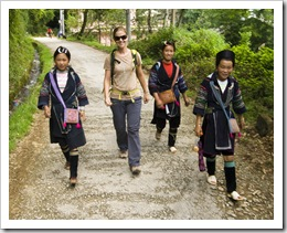 Lisa with Mi (our guide) and a couple of other H'Mong girls on the way to Cat Cat Village