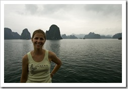 Lisa on the boat in Halong Bay