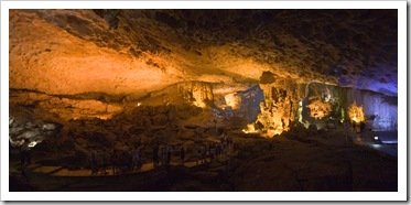 Hang Thien Cung cave in one of the islands of Halong Bay